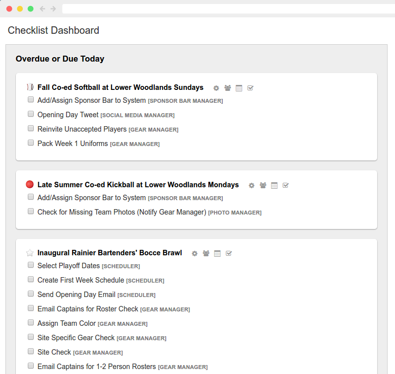 Checklist Dashboard Screenshot